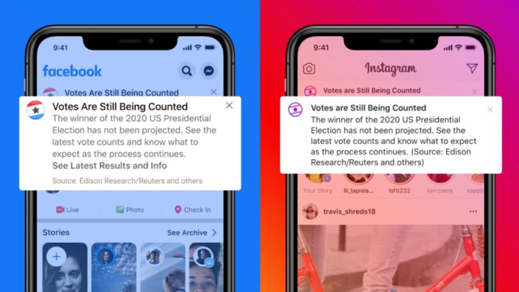 Deze notificaties ('stemmen worden nog geteld') zien Amerikanen straks op de verkiezingsdag op Facebook en Instagram.