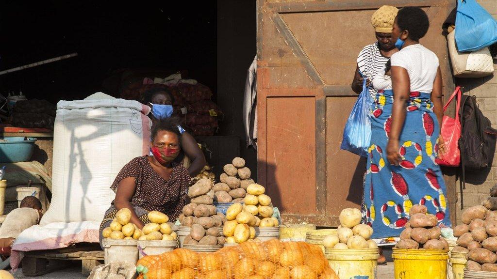 Markt in Lusaka, hoofdstad van Zambia