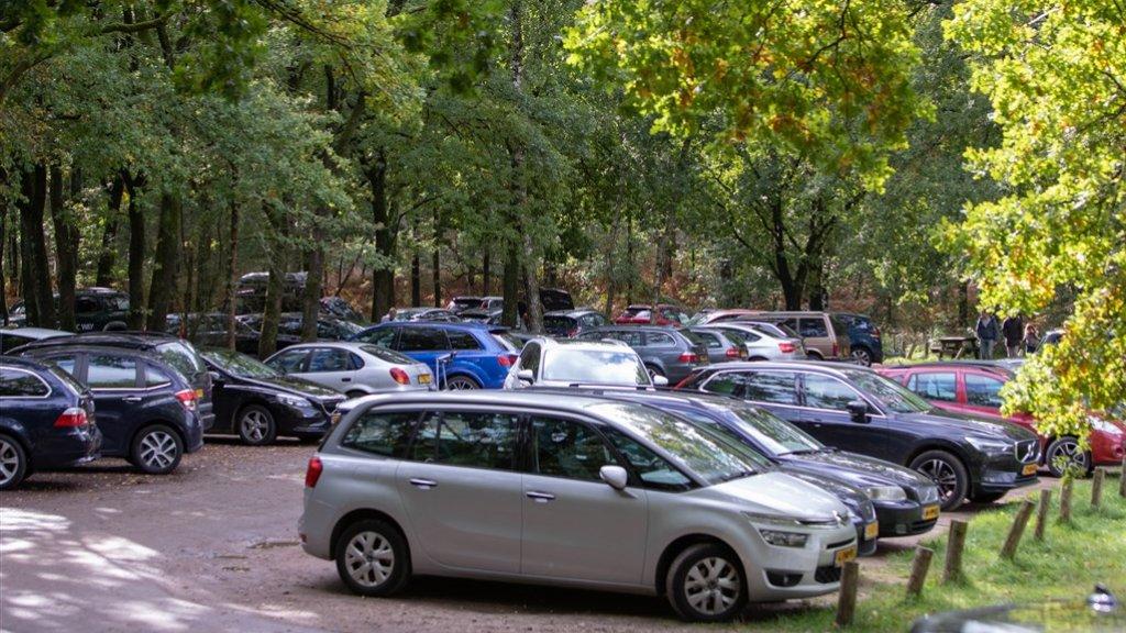 Volle parkeerplaats bij de bossen van Lage Vuursche.