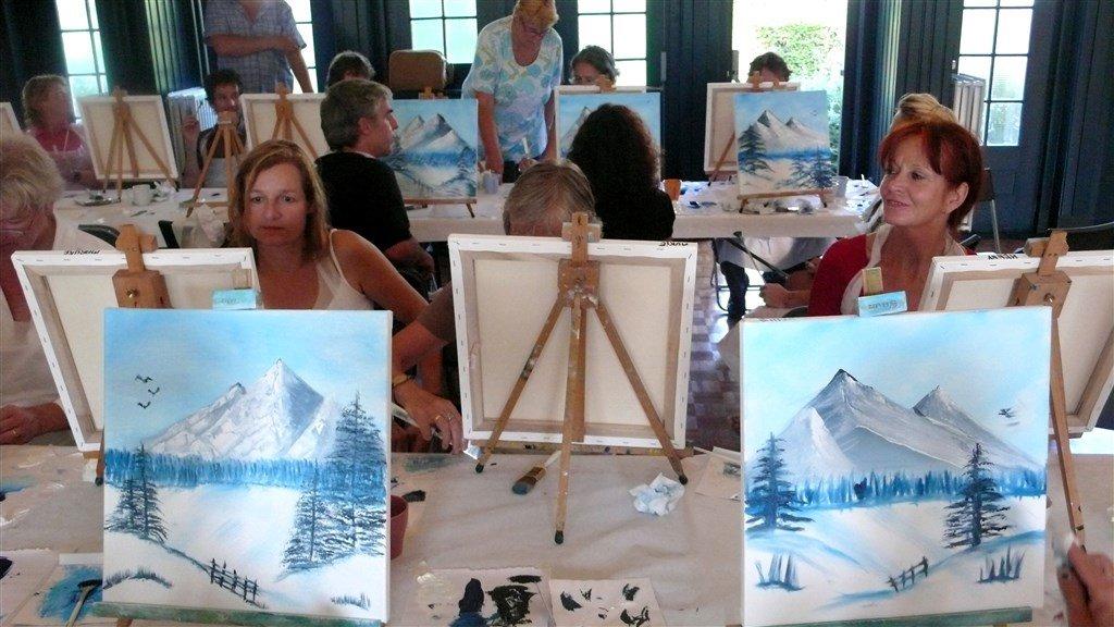 Al jaren worden Bob Ross-workshops gegeven. Dit is er een in 2008 in Amsterdam.