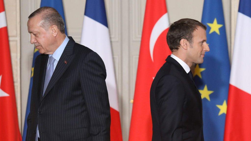De Turkse president Erdogan en de Franse president Macron in Parijs in 2018.