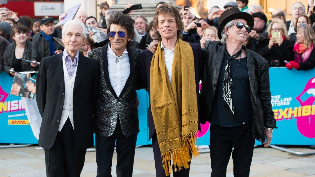 The Stones bij de opening van de tentoonstelling in London in 2016.