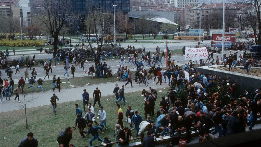 Onrust en demonstraties in Sarajevo, 1992.
