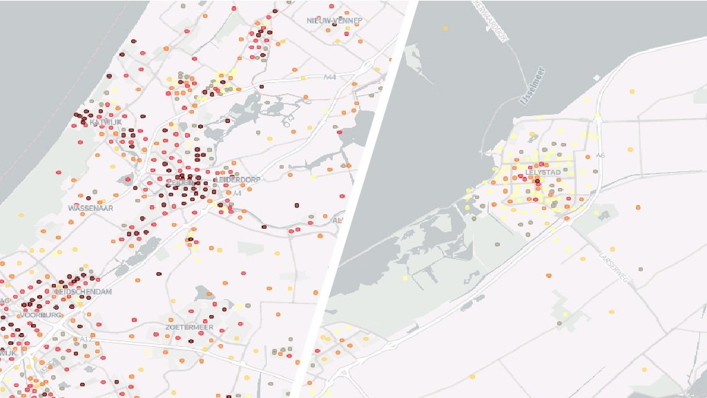 The risk of accidents in residential areas in Leiden is far higher than in those in the younger city of Lelystad.