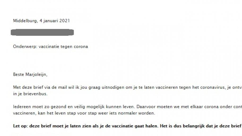 Een deel van de mail die Marjoleijn ontving.