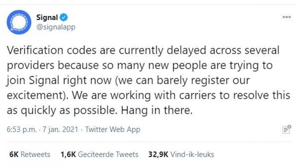 Signal liet op Twitter weten dat er veel nieuwe aanmeldingen zijn