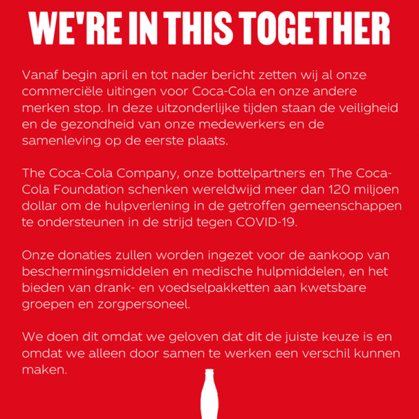 Coca-Cola staakt marketing