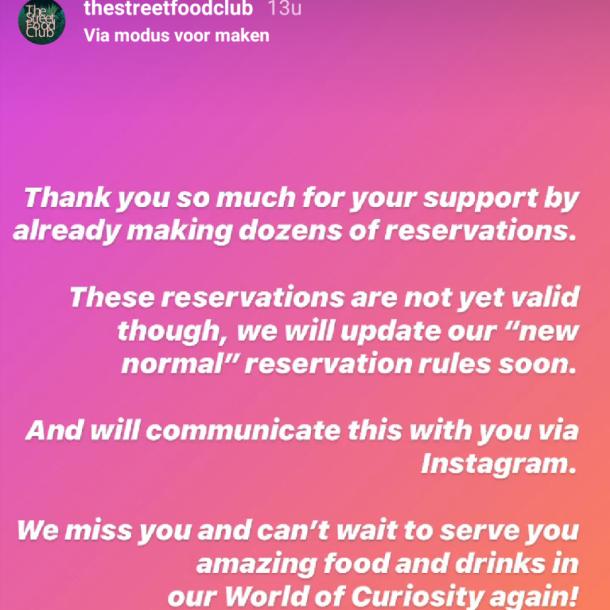 The Streetfood Club ontving gisteravond gelijk veel reserveringen, maar moet nog even de boot afhouden.