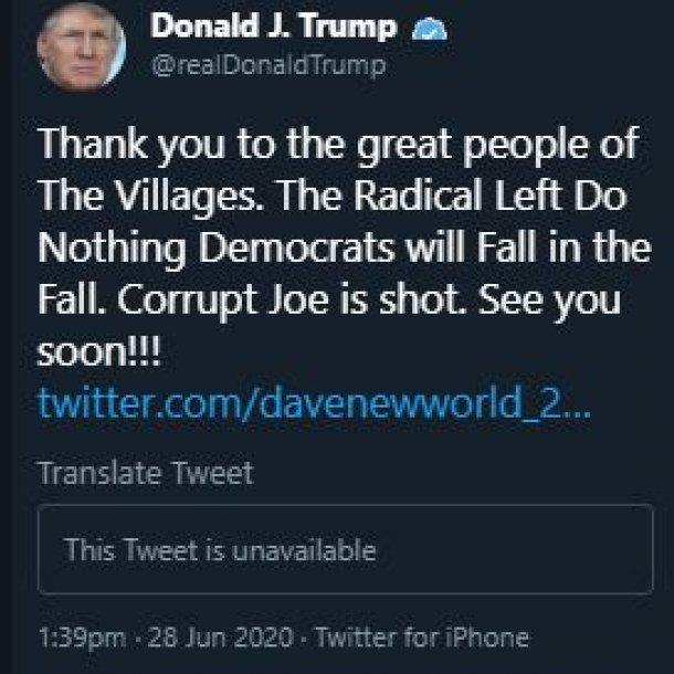 Screenschot van de inmiddels verwijderde tweet.