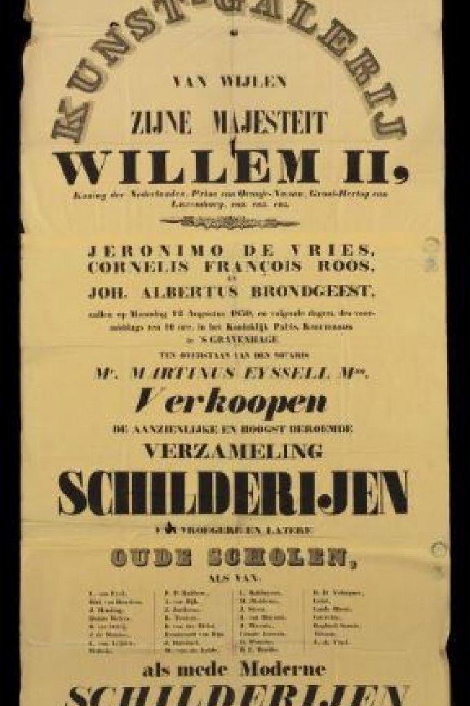 Een aankondiging van de veiling in 1850.
