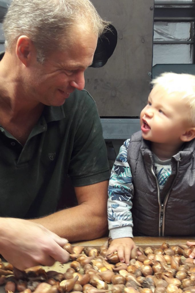 Vader en zoon bij de tulpenbollen uit Nederland.