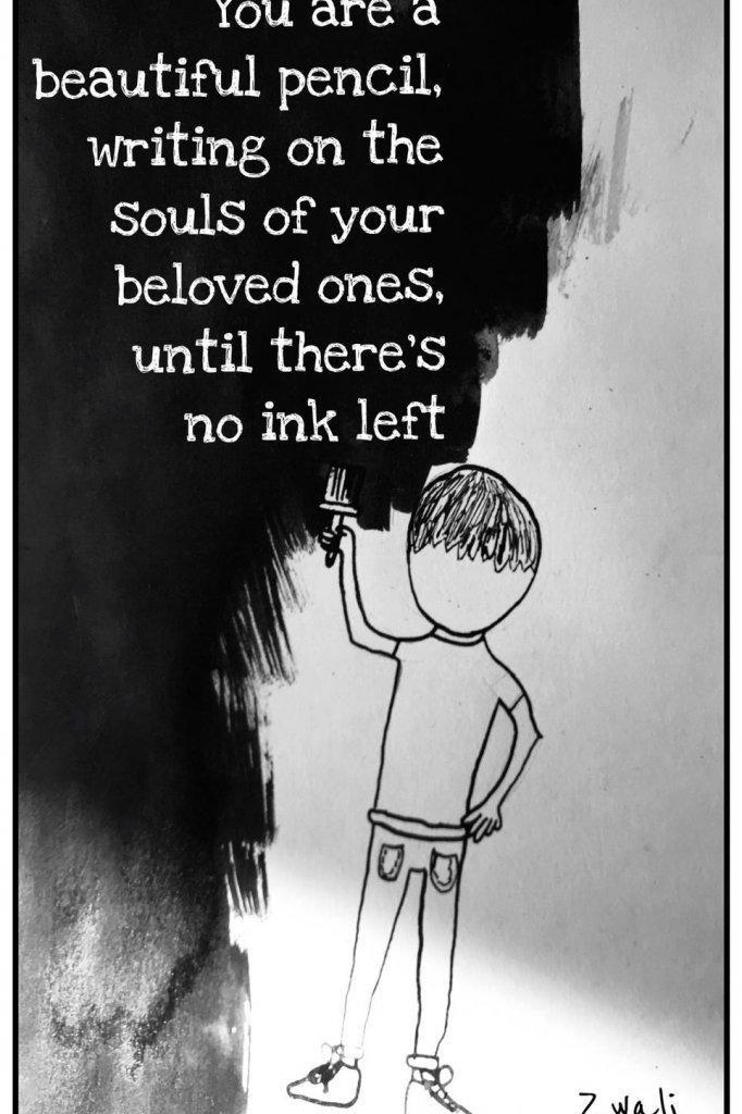 De dochter van Jeroen maakte deze tekening. Jeroen schreef er een gedichtje bij.