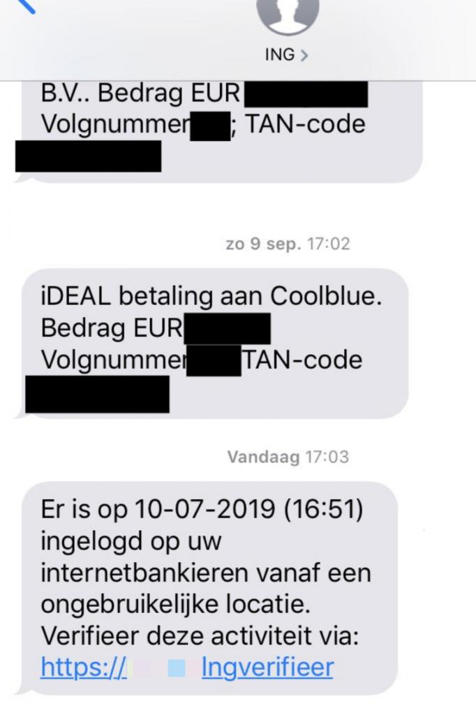 De phishing-sms verschijnt tussen de officiële sms-berichten.