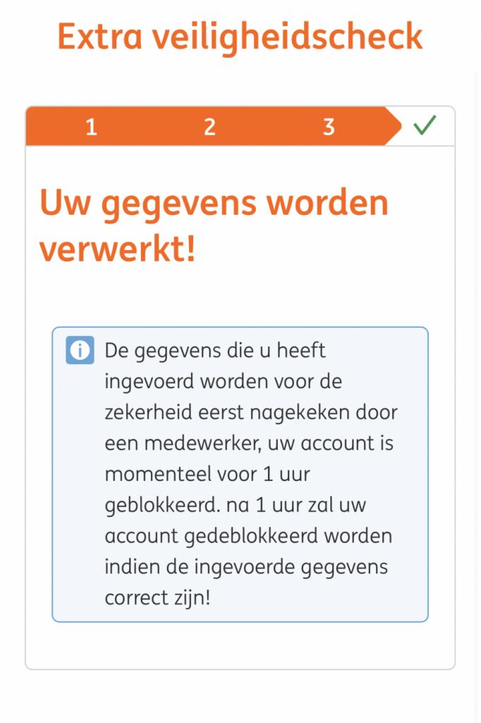 Voorbeeld van een venster van een phishingwebsite dat wordt getoond zodra een crimineel toegang krijgt tot jouw bankrekening.