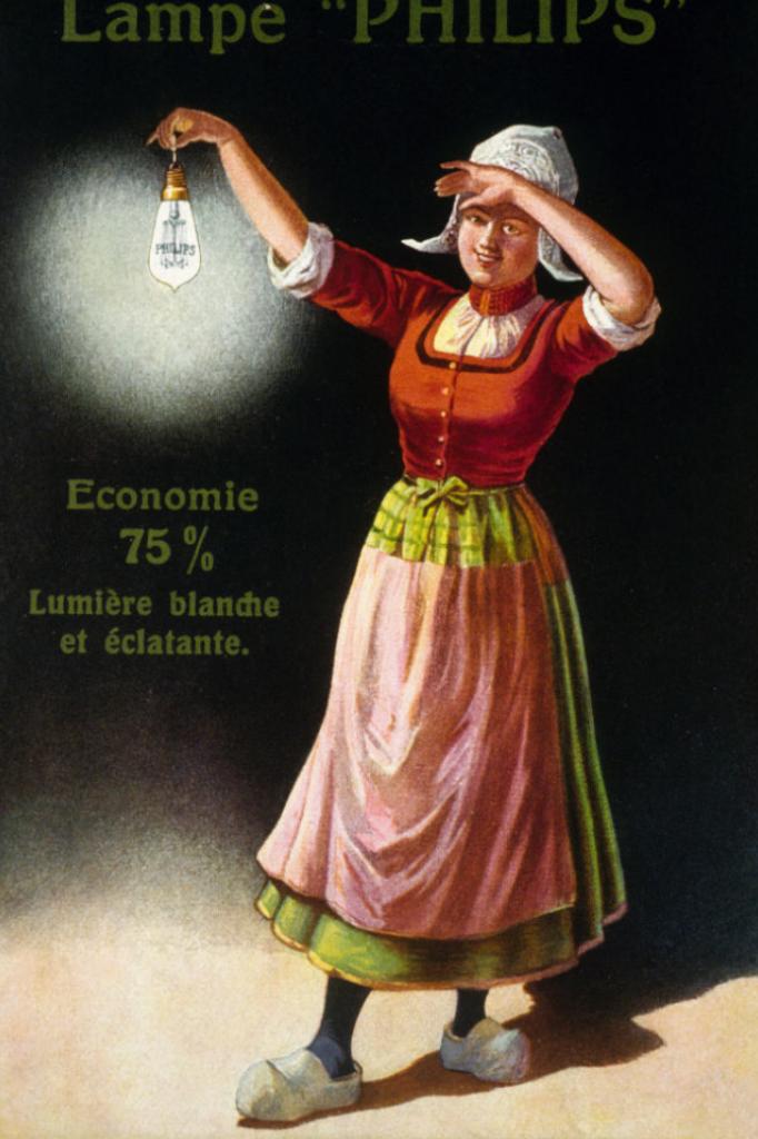 Reclame voor een Philips-gloeilamp in Frankrijk, rond 1925.