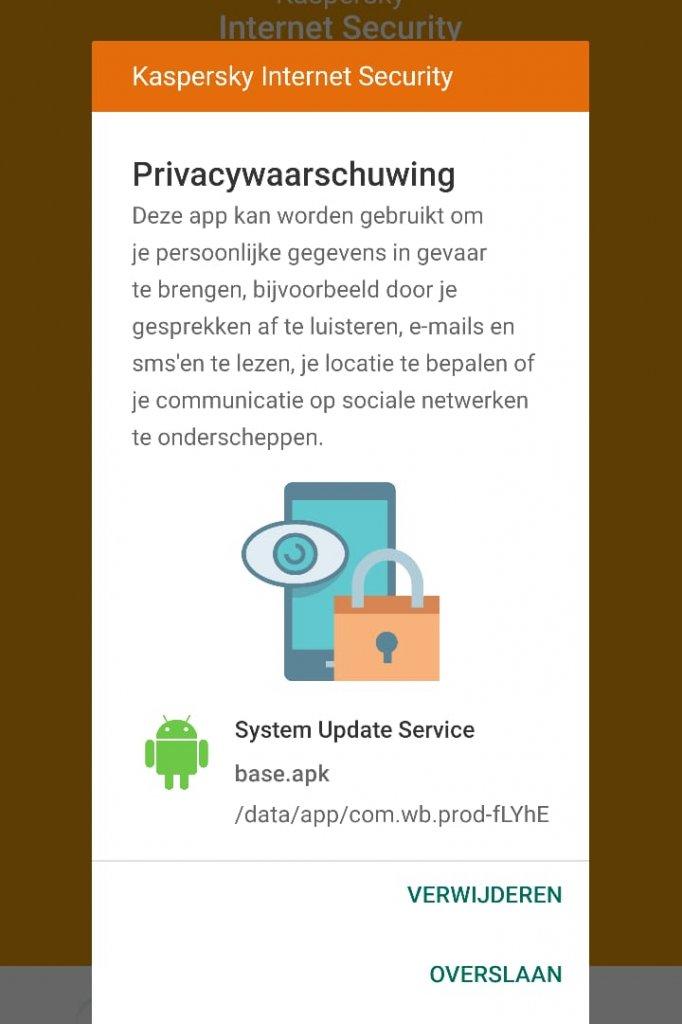 De melding van Kaspersky als er stalkerware wordt ontdekt.