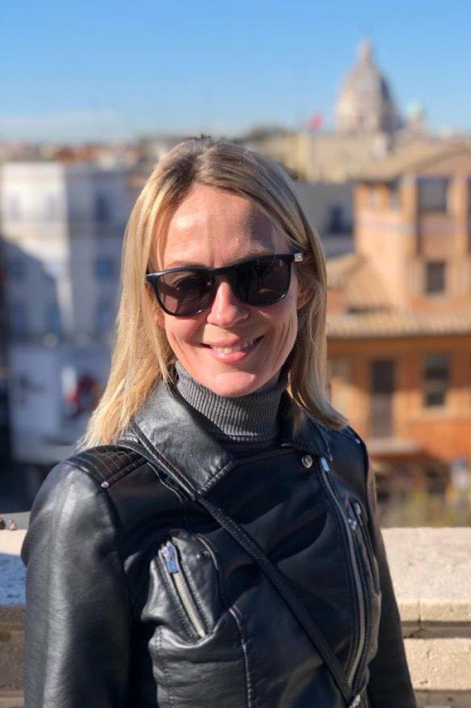Marjolein in Rome, waar ze het virus vermoedelijk heeft opgelopen.