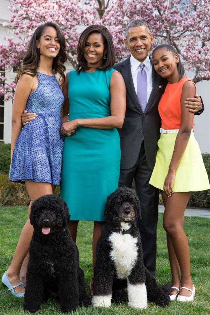 De Obama's met Bo (links) en Sunny in 2015.